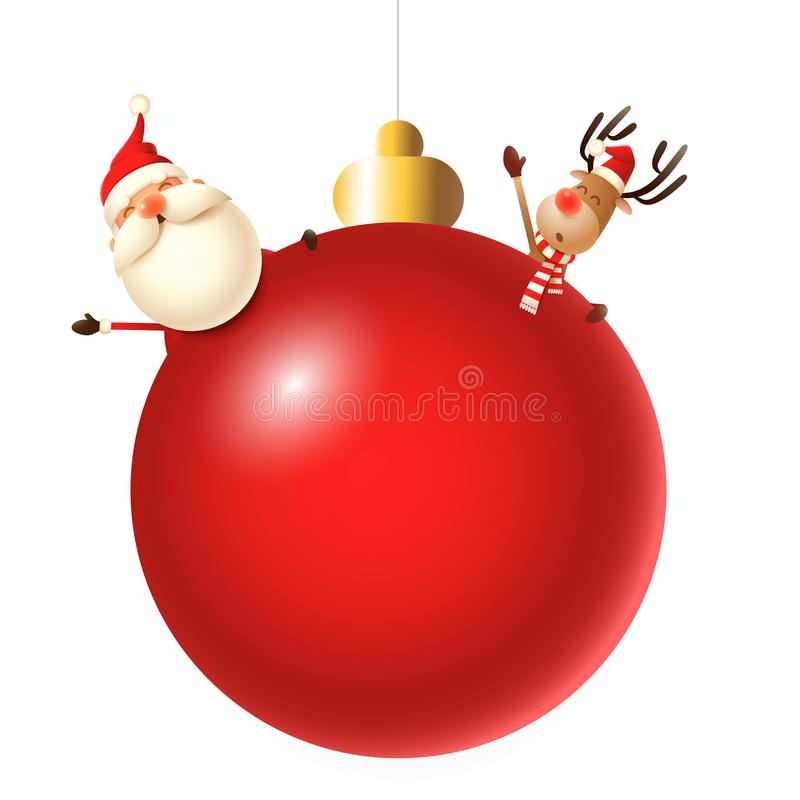 Санта Клаус и северный олень за красным шариком рождественской елки бесплатная иллюстрация
