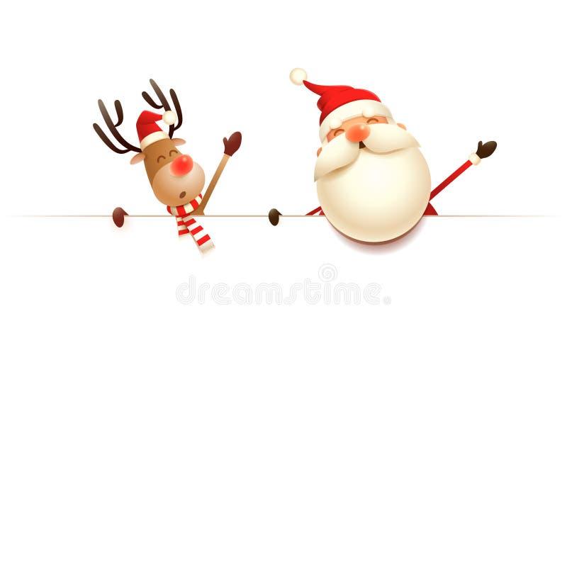 Санта Клаус и северный олень поверх афиши - изолированной на белой предпосылке иллюстрация штока