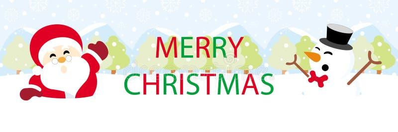 Санта Клаус и снеговик на снеге с рождеством графиков текста веселым иллюстрация вектора