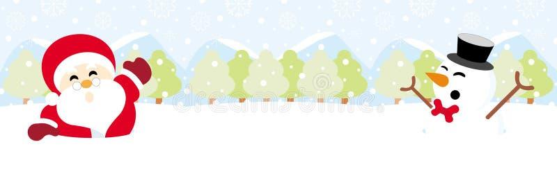 Санта Клаус и снеговик на снеге с рождеством снежинки иллюстрация вектора