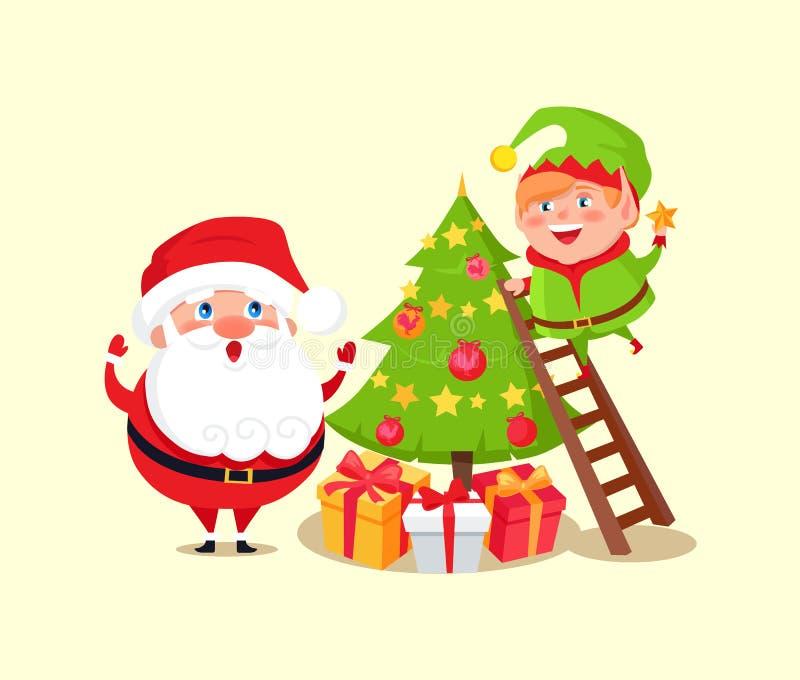 Санта Клаус и эльф украшая рождественскую елку бесплатная иллюстрация