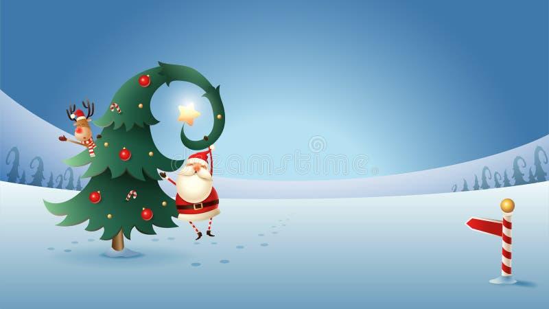 Санта Клаус и Reinder с рождественской елкой на ландшафте зимы вечером бесплатная иллюстрация
