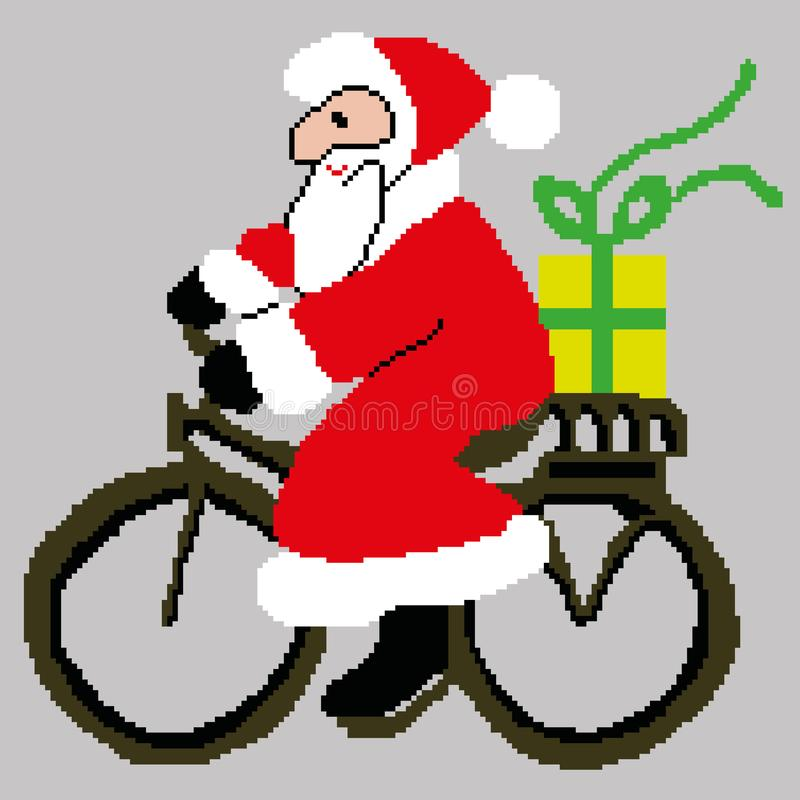 Санта Клаус, Санта Клаус на велосипеде при подарок нарисованный квадратами, пикселами Новый Год поздравительной открытки счастлив стоковая фотография