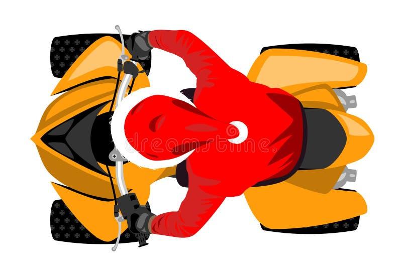 Санта Клаус на взгляде сверху Мотовездехода классического спорта участвуя в гонке изолированный на белой иллюстрации вектора бесплатная иллюстрация