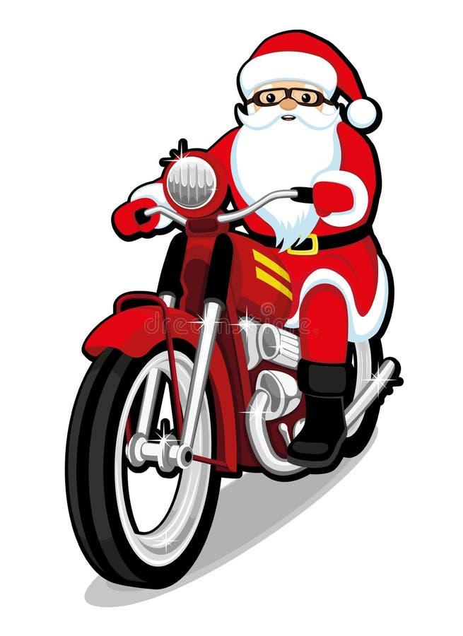 Санта Клаус на красном мотоцикле иллюстрация вектора