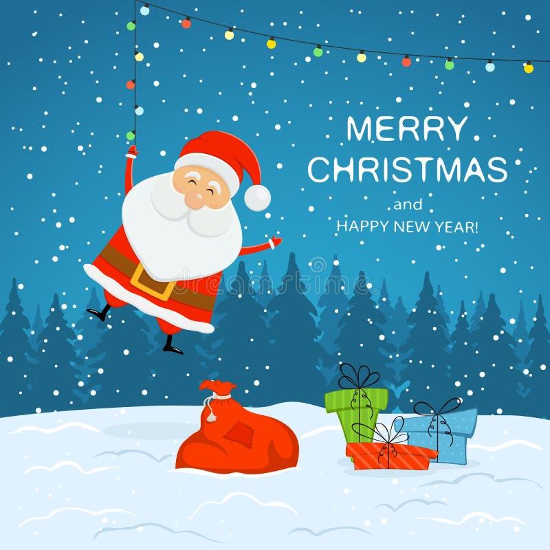 Санта Клаус на предпосылке Snowy с настоящими моментами и рождеством Ligh иллюстрация штока