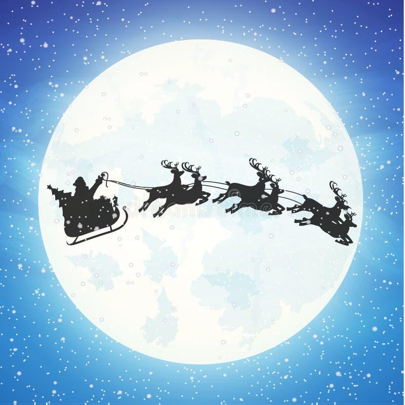 Санта Клаус на санях вполне подарков и северных оленей бесплатная иллюстрация