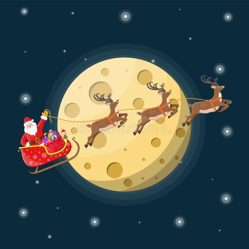 Санта Клаус на санях вполне подарков и северных оленей иллюстрация вектора