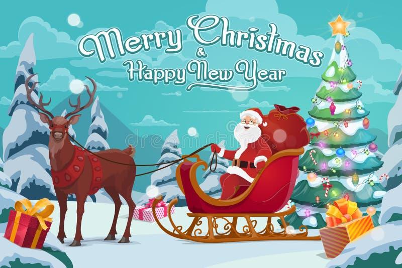 Санта Клаус на санях и приполюсных оленях, рождестве иллюстрация вектора