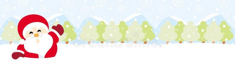 Санта Клаус на снеге с рождеством снежинки иллюстрация штока