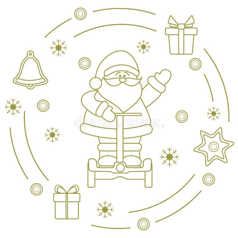 Санта Клаус на segway, подарки, колокол, пряник иллюстрация штока