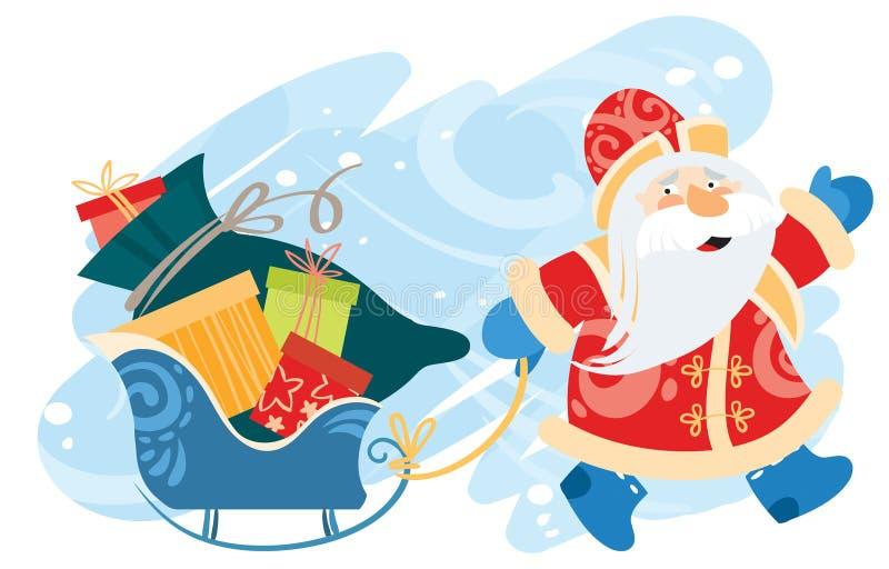 Санта Клаус носит сани с подарками бесплатная иллюстрация