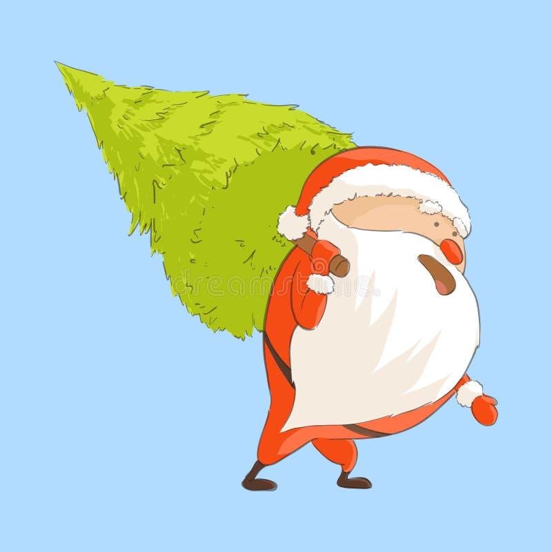 Санта Клаус носит спрус иллюстрация штока