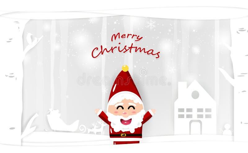 Санта Клаус, персонаж из мультфильма, искусство бумаги со снегом падая, whi иллюстрация вектора