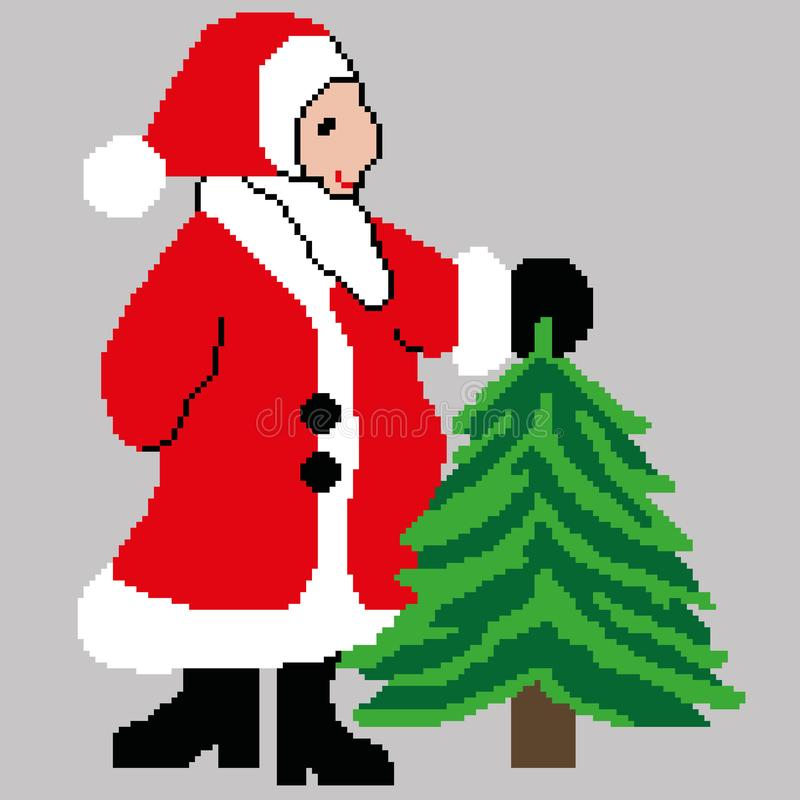 Санта Клаус, Санта Клаус при рождественская елка нарисованная в квадратах, пикселах Новый Год поздравительной открытки счастливый стоковая фотография