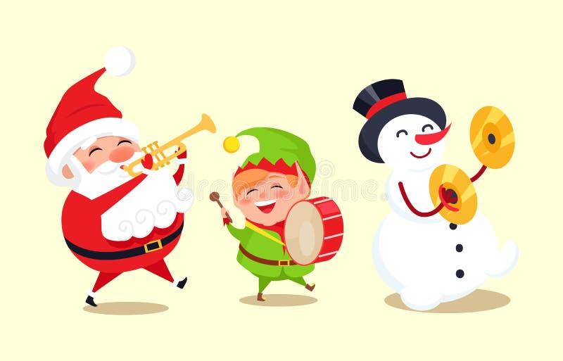 Санта Клаус при эльф и снеговик играя музыку иллюстрация вектора