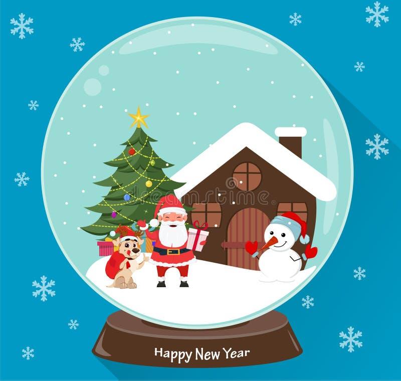 Санта Клаус, рождественская елка, снеговик, милая собака, настоящие моменты и дом, сцена в глобусе снега иллюстрация вектора
