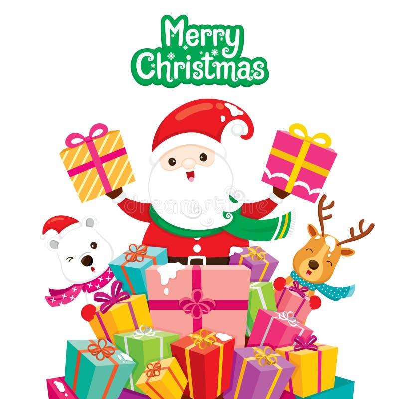 Санта Клаус, северный олень и полярный медведь с кучей подарков иллюстрация штока