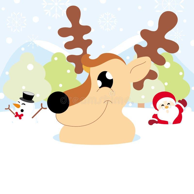 Санта Клаус, северный олень и снеговик на снеге с рождеством снежинки иллюстрация штока