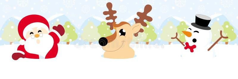 Санта Клаус, северный олень и снеговик на снеге с рождеством снежинки иллюстрация вектора
