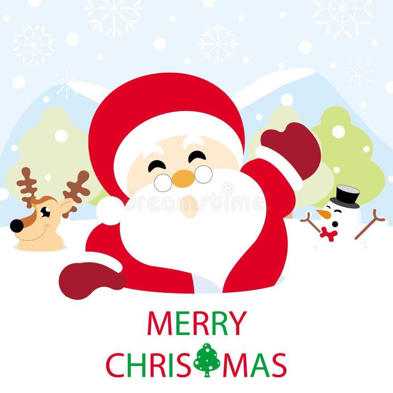 Санта Клаус, северный олень и снеговик на снеге бесплатная иллюстрация
