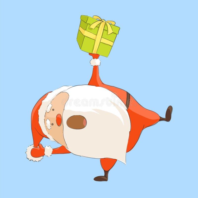 Санта Клаус смешные танцы иллюстрация вектора