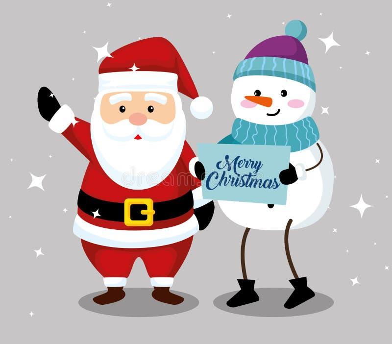 Санта Клаус со снеговиком к веселому рождеству бесплатная иллюстрация