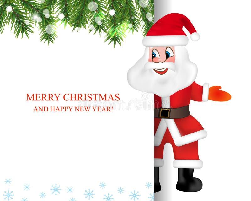 Санта Клаус с большим шильдиком американская карточка 3d красит сферу форм соотечественника пем праздника приветствию флага взрыв иллюстрация вектора