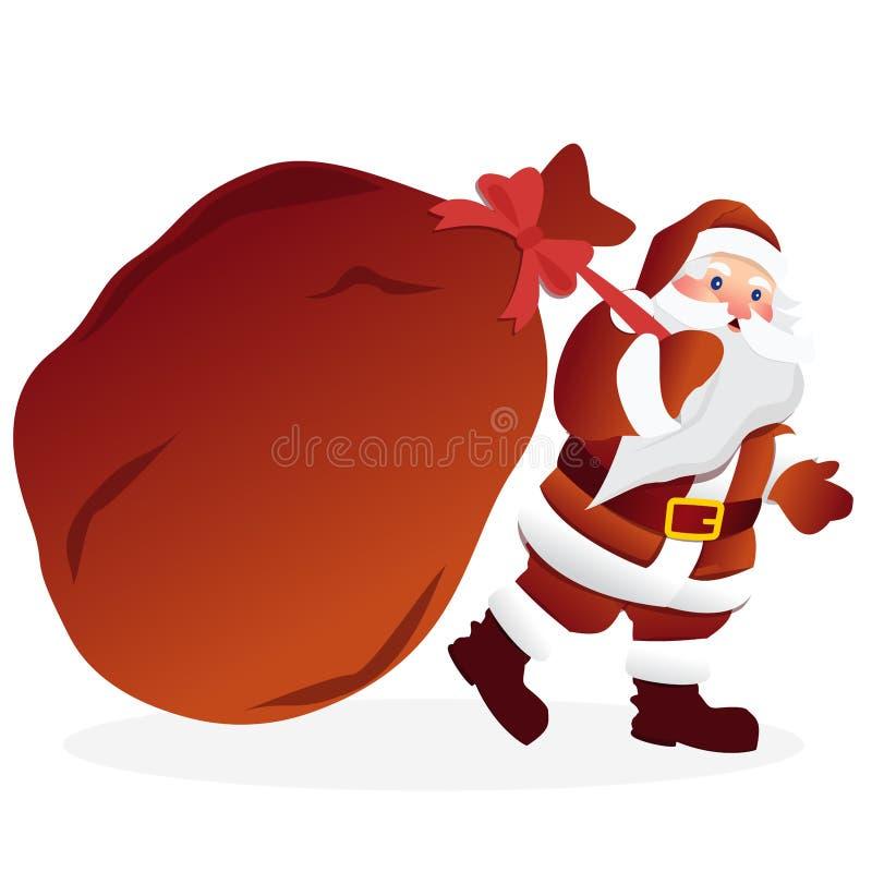 Санта Клаус с огромной красной сумкой с настоящими моментами также вектор иллюстрации притяжки corel бесплатная иллюстрация
