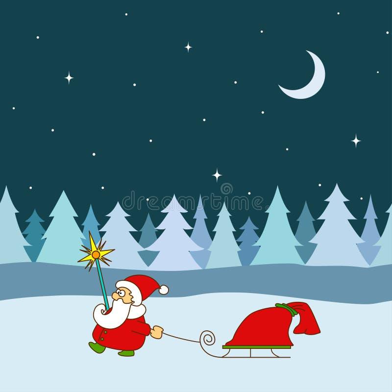 Санта Клаус с санями и сумкой с подарками на безшовной предпосылке дерева бесплатная иллюстрация