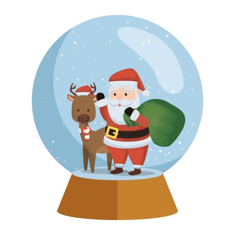 Санта Клаус с северным оленем в сфере снега иллюстрация штока