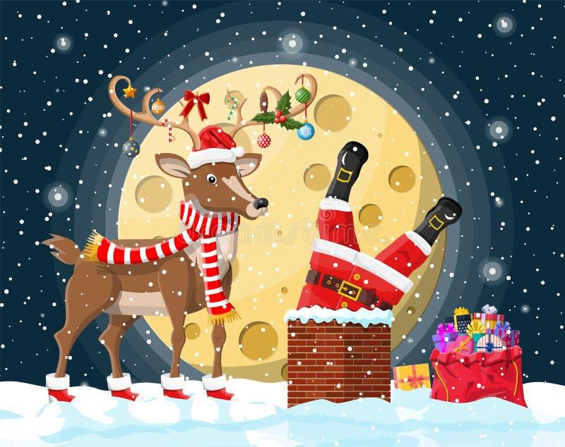 Санта Клаус с сумкой с подарками в камине дома иллюстрация вектора