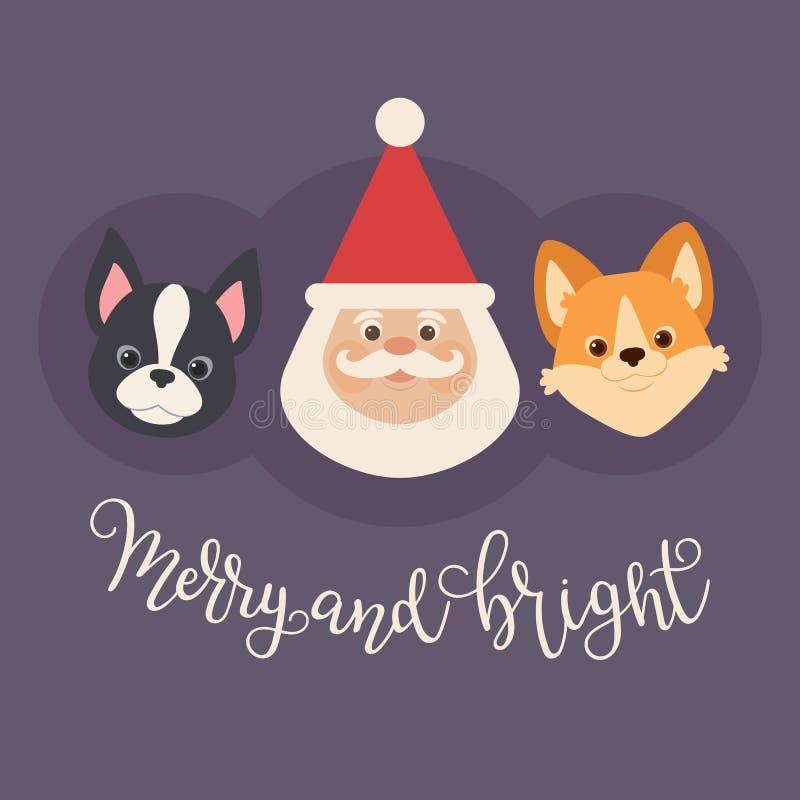 Санта Клаус с 2 щенятами: corgi валийца и терьер boston иллюстрация штока