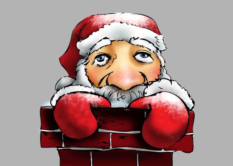 Санта Клаус в печной трубе иллюстрация штока