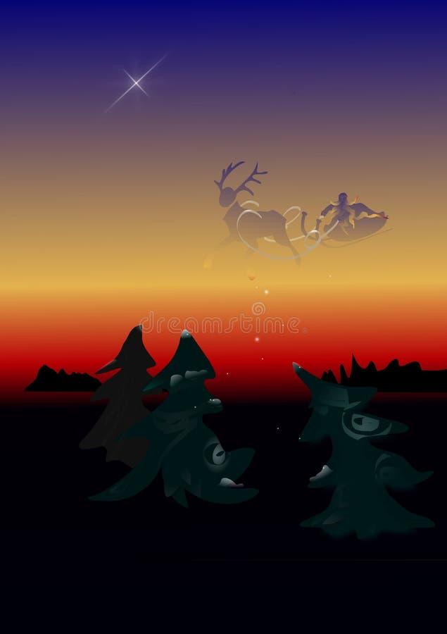 Санта Клаус летая над древесинами стоковые изображения rf