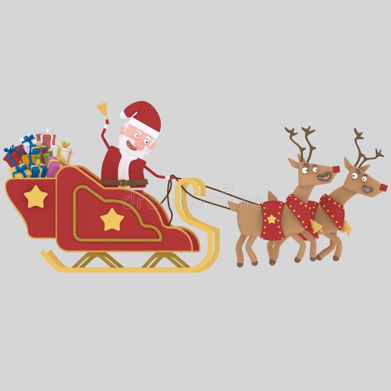 Санта Клаус ехать его сани 3d иллюстрация вектора