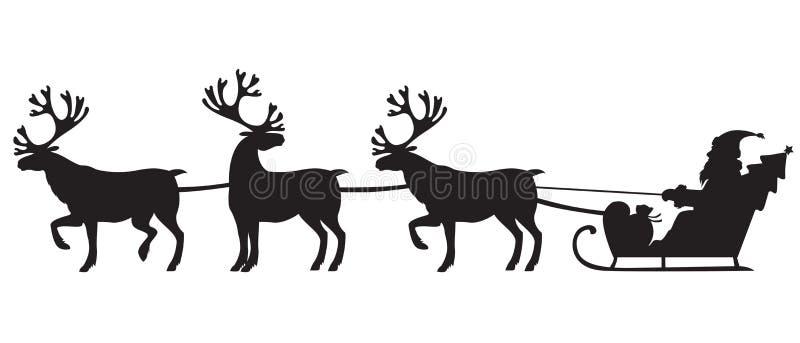 Санта Клаус ехать сани с северными оленями иллюстрация вектора