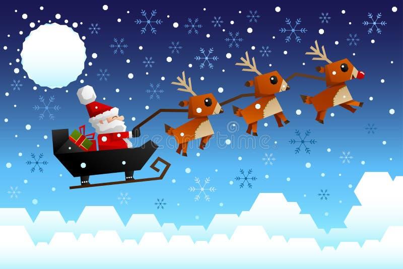 Санта Клаус ехать сани иллюстрация вектора