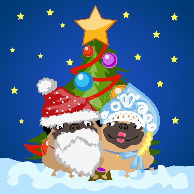 Санта Клаус и девушка снега с рождественской елкой бесплатная иллюстрация