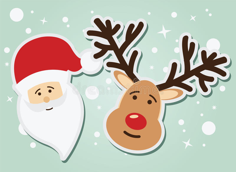 Санта Клаус и северный олень, рождество и Новый Год иллюстрация вектора