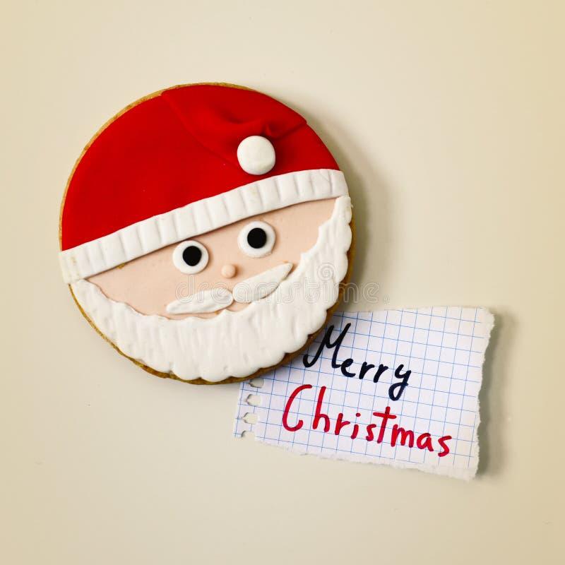 Санта Клаус и текст с Рождеством Христовым стоковое фото