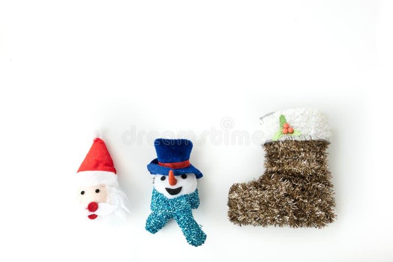 Санта Клаус и человек и рождество снега чулок стоковые изображения rf