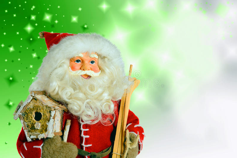 Санта Клаус на предпосылке рождества стоковое фото rf