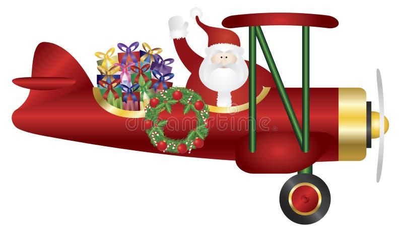 Санта Клаус на самолет-биплане поставляя иллюстрацию настоящих моментов иллюстрация штока