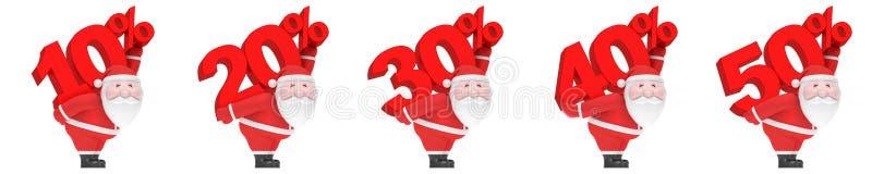 Санта Клаус носит номер и проценты 10, 20, 30, 40, 50% Комплект сезона продажи рождества иллюстрация вектора