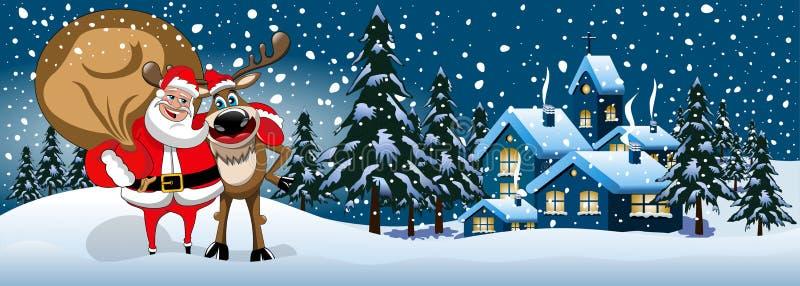 Санта Клаус обнимая знамя снега северного оленя иллюстрация штока