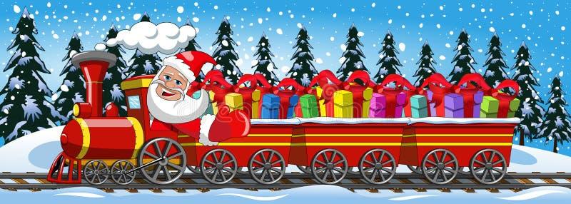 Санта Клаус поставляя подарки управляя снегом локомотива пара иллюстрация штока