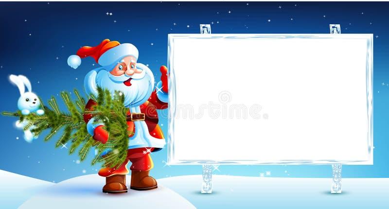 Санта Клаус стоя в снеге иллюстрация штока