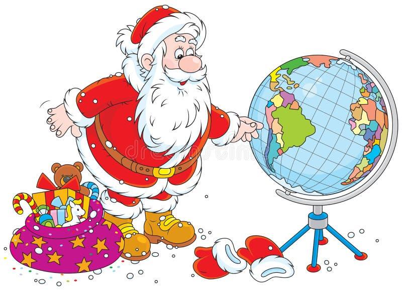 Санта Клаус с глобусом иллюстрация вектора