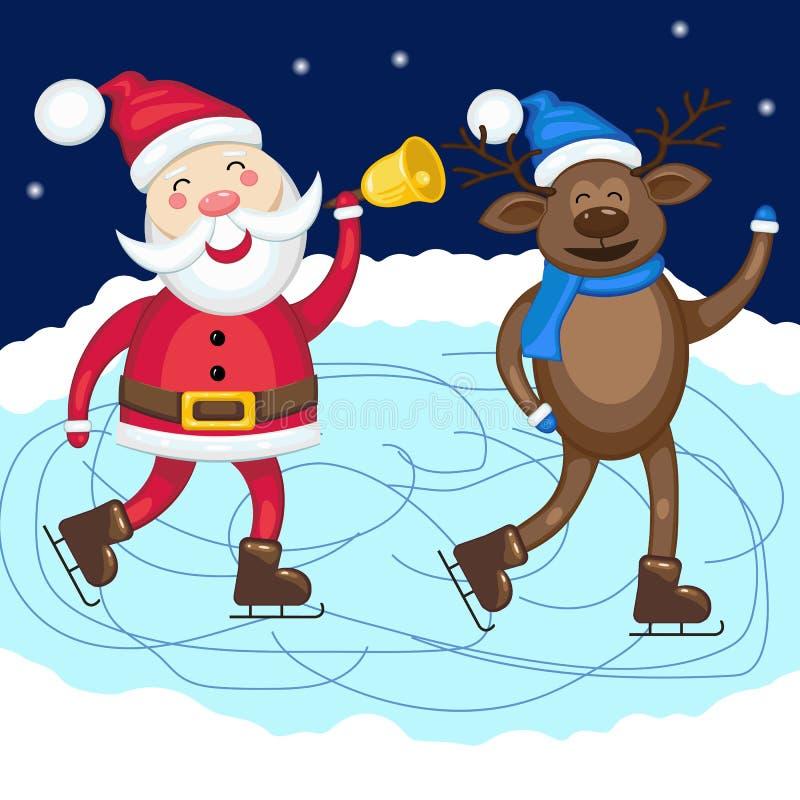 Санта Клаус с коньком оленей на катке иллюстрация штока